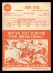 1963 Topps #39  Dick Bass  Back Thumbnail
