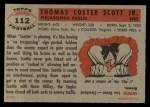1956 Topps #112  Tom Scott  Back Thumbnail