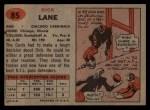 1957 Topps #85  Dick Lane  Back Thumbnail