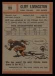 1962 Topps #99  Cliff Livingston  Back Thumbnail