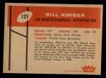 1960 Fleer #121  Bill Kimber  Back Thumbnail