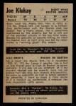 1954 Parkhurst #54  Joe Klukay  Back Thumbnail