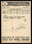 1959 Topps #52  Tom Miner  Back Thumbnail