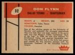 1960 Fleer #32  Don Flynn  Back Thumbnail