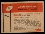 1960 Fleer #39  Jack Spikes  Back Thumbnail