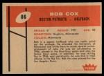 1960 Fleer #86  Bob Cox  Back Thumbnail