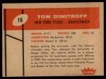 1960 Fleer #16  Tom Dimitroff  Back Thumbnail