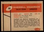1960 Fleer #59  Sherrill Headrick  Back Thumbnail