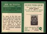 1966 Philadelphia #190  Joe Rutgens  Back Thumbnail