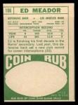 1968 Topps #106  Ed Meador  Back Thumbnail