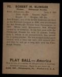 1939 Play Ball #90  Bob Klinger  Back Thumbnail
