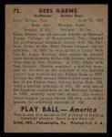 1939 Play Ball #72  Debs Gams  Back Thumbnail
