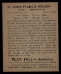 1939 Play Ball #29  Jack Wilson  Back Thumbnail