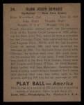 1939 Play Ball #34  Frank DeMaree  Back Thumbnail
