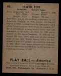 1939 Play Ball #80  Pete Fox  Back Thumbnail