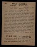 1939 Play Ball #43  Melo Almada  Back Thumbnail