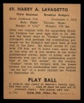 1940 Play Ball #69  Cookie Lavagetto  Back Thumbnail