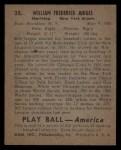 1939 Play Ball #35  Billy Jurges  Back Thumbnail