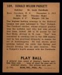 1940 Play Ball #109  Don Padgett  Back Thumbnail