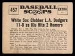 1961 Nu-Card Scoops #457   -   Ted Kluszewski  Ted Kluszewski Stars in 1st Game Win Back Thumbnail