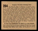 1938 Gum Inc. Horrors of War #204   Emperor Hirohito's Birthday Raid Back Thumbnail