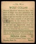 1933 Goudey Indian Gum #93   Wolf Collar  Back Thumbnail