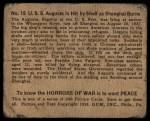 1938 Gum Inc. Horrors of War #15   U.S.S. Augusta is Hit by Shell as Shanghai Burns Back Thumbnail