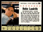 1961 Post #150 COM Hobie Landrith   Front Thumbnail