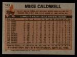 1983 Topps #142  Mike Caldwell  Back Thumbnail