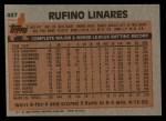 1983 Topps #467  Rufino Linares  Back Thumbnail