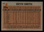 1983 Topps #447  Byrn Smith  Back Thumbnail
