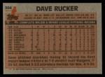 1983 Topps #304  Dave Rucker  Back Thumbnail