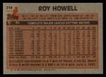 1983 Topps #218  Roy Howell  Back Thumbnail