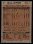 1983 Topps #96  Dick Howser  Back Thumbnail