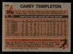1983 Topps #505  Garry Templeton  Back Thumbnail