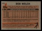 1983 Topps #454  Bob Welch  Back Thumbnail