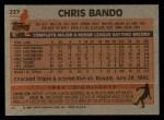 1983 Topps #227  Chris Bando  Back Thumbnail