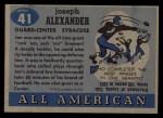 1955 Topps #41  Joe Alexander  Back Thumbnail