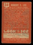 1952 Topps Look 'N See #34  Robert E Lee  Back Thumbnail