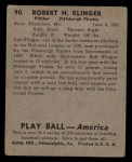 1939 Play Ball #90  Bob Klinger  Back Thumbnail