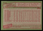 1985 Topps #735  Garry Templeton  Back Thumbnail