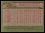 1985 Topps #327  Brook Jacoby  Back Thumbnail