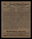 1939 Play Ball #157  Don Padgett  Back Thumbnail