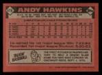 1986 Topps #478  Andy Hawkins  Back Thumbnail