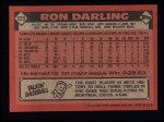 1986 Topps #225  Ron Darling  Back Thumbnail