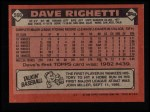 1986 Topps #560  Dave Righetti  Back Thumbnail