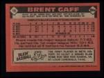 1986 Topps #18  Brent Gaff  Back Thumbnail