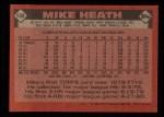 1986 Topps #148  Mike Heath  Back Thumbnail