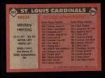 1986 Topps #441  Whitey Herzog  Back Thumbnail