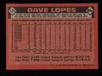 1986 Topps #125  Dave Lopes  Back Thumbnail